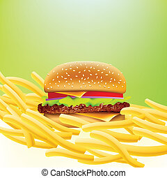 cheeseburger, vector, fríe