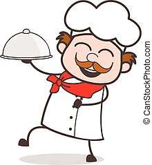Chef alegre de dibujos animados que sostiene platos ilustración vectorial