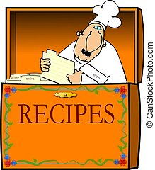 chef, caja, receta