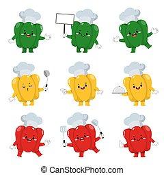 chef, caricatura, conjunto, lindo, campana, caracteres, pimienta, activities., vario