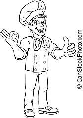 chef, caricatura, hombre, carácter, cocinero, panadero