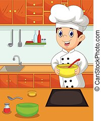 chef, caricatura, th, traer, divertido, tazón