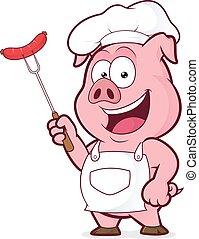 Chef cerdo sosteniendo una salchicha en tenedor