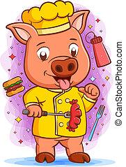 chef, cerdo, tenencia, maestro, cara, embutido, feliz