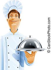 Chef cocina con bandeja y tapa