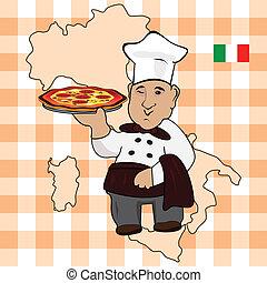 Chef cocina con pizza en el plato