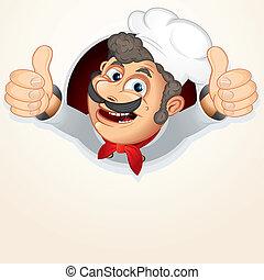 chef, cocinero, actuación, pulgar up