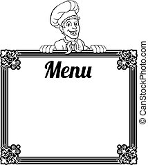 chef, cocinero, menú, señal, caricatura, plano de fondo, hombre, panadero