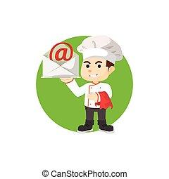 Chef con bandeja de correo