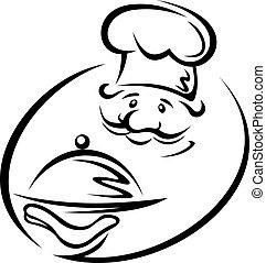 Chef con bandeja