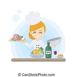 Chef con comida.