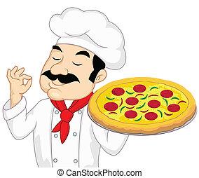 Chef con pizza