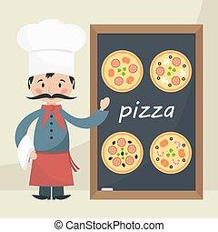 Chef Cook con menú de pizza.