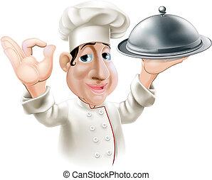 Chef de cartón con bandeja de servicio