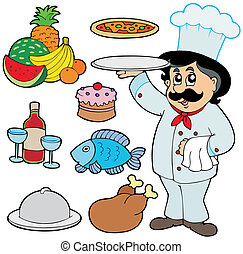 Chef de cartón con varias comidas