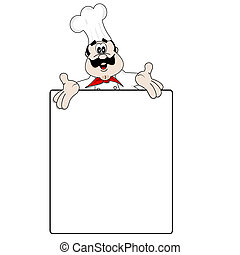 Chef de cartón y menú en blanco