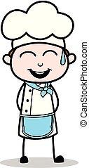 Chef de dibujos animados alegre sonrisa vector ilustración