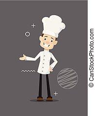 Chef de dibujos animados alegre vector plano diseño de ilustración