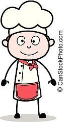 Chef de dibujos animados con una linda ilustración de vector de rostro sonriente
