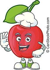 Chef dibujos animados bing cerezas en fondo blanco