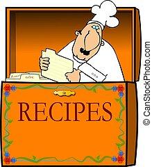 Chef en una caja de recetas