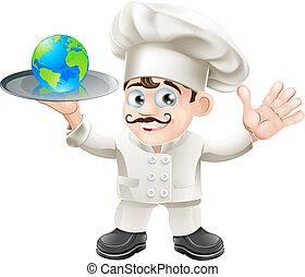 chef, globo, concepto