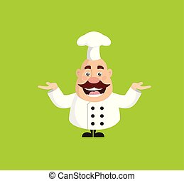 Chef gordo de dibujos animados alegre vector plano diseño de ilustración