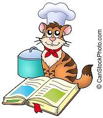 chef, libro, receta, caricatura, gato