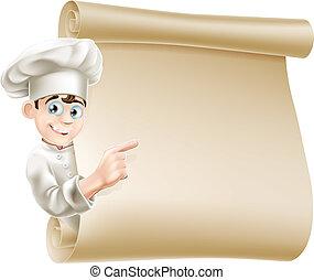 chef, menú, caricatura