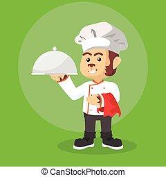 Chef mono con bandeja