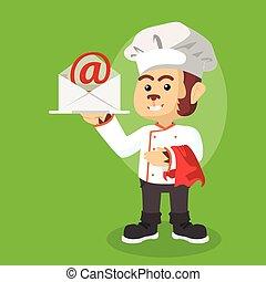 Chef mono con bandeja de correo