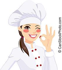 chef, mujer, aprobar, el gesticular, señal