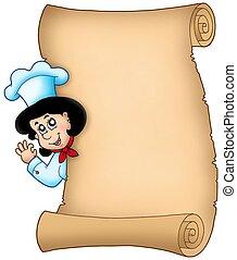 chef, mujer, pergamino, se ocultar