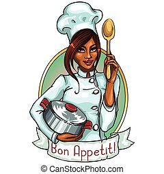 chef, olla, spoon., bastante