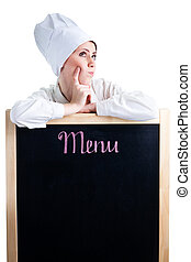 Chef pensando en el menú del almuerzo