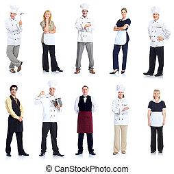 chef, peope, camarera, workers.