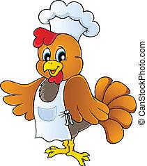 chef, pollo, caricatura