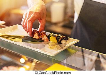 chef, porción, japonés, sushi, tradicional