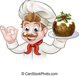 chef, pudín, navidad, tenencia