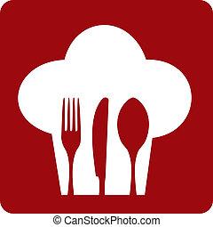chef, restaurant., icono