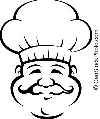 Chef sonriente con un gran bigote rizado