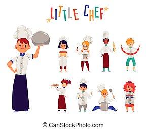 chefs, cocineros, conjunto, niños, plano, vector, alimento, isolated., caricatura, ilustración