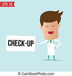 cheque, señal, -, arriba, doctor