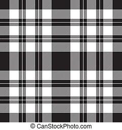 cheque, tela, diagonal, blanco, negro, textura, seamless, patrón