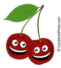 Cherry. Vector Ilustración de un divertido par de cerezas con cara, sobre fondo blanco.