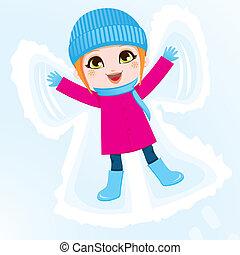 Chica ángel de la nieve