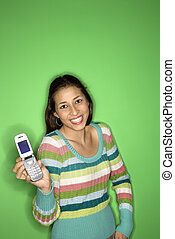 Chica adolescente con móvil.