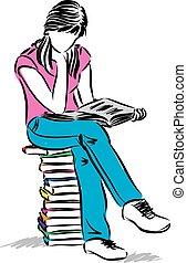 Chica adolescente sentada y leyendo ilustraciones de libros
