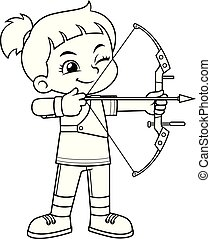 Chica Archer apuntando al objetivo BW