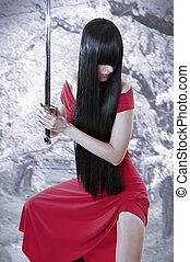Chica asiática de misterio sexual peligroso. Al estilo anime